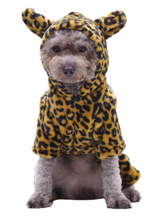 Pet Dog Halloween Cosplay Costumes Funny Autumn Winter Cheetah Image Design Four Leg Flannel Changing Clothes Dogs/Cats