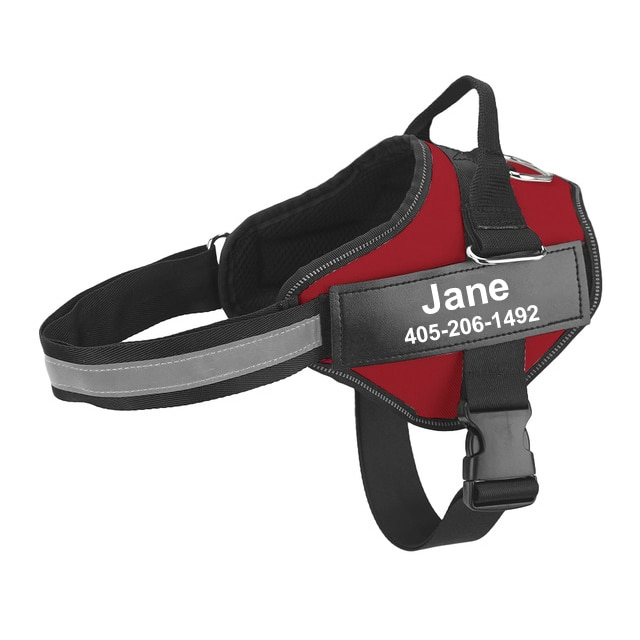 personalized dog harness red
