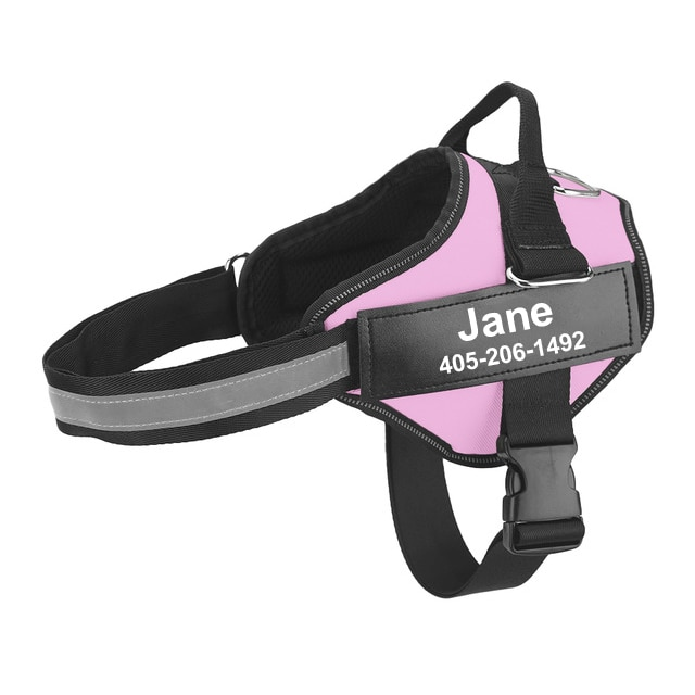personalized dog harness pink