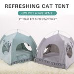 Summer Breathable Cat Bed Portable Foldable Pet Nest Cat Small Dog Tent House Removable Washable Sleeping Puppy Teepee