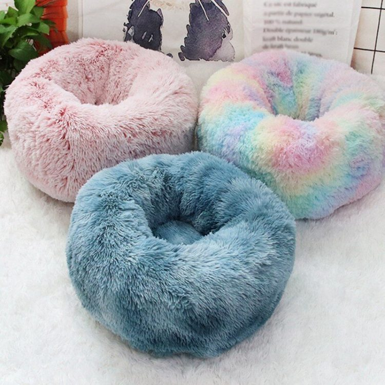 Mixing Color Long Plush Cat Nest Soft Coral Velvet Bed House Pet Sleeping Mat Winter Puppy Kennel Cat Cushion Portable Pads