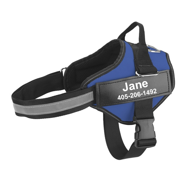 personalized dog harness blue