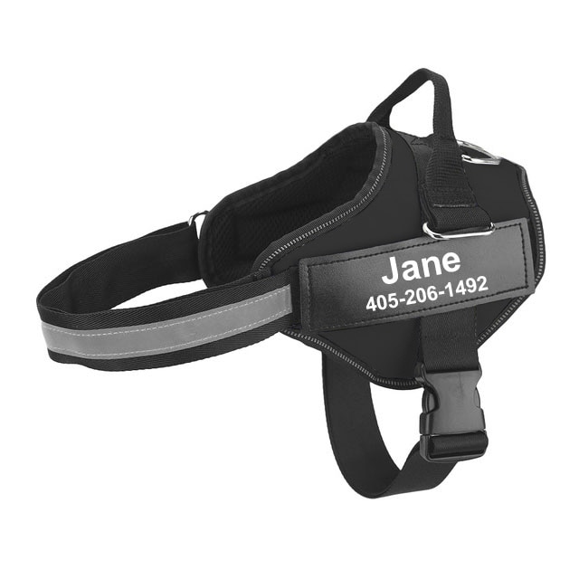 personalized dog harness black