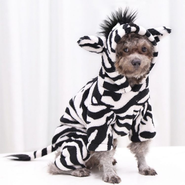 Pet Dog Halloween Cosplay Costume Funny Autumn Winter Zebra Image Flannel Changing Clothes For Small Medium Dogs/Cats 1