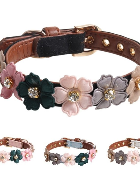 Dog-Flower-Collar-Cute-Shiny-Diamonds-Leather-Dogs-Necklaces-Pet-Adjustable-Collars-For-Small-Medium-Dogs-Chihuahua