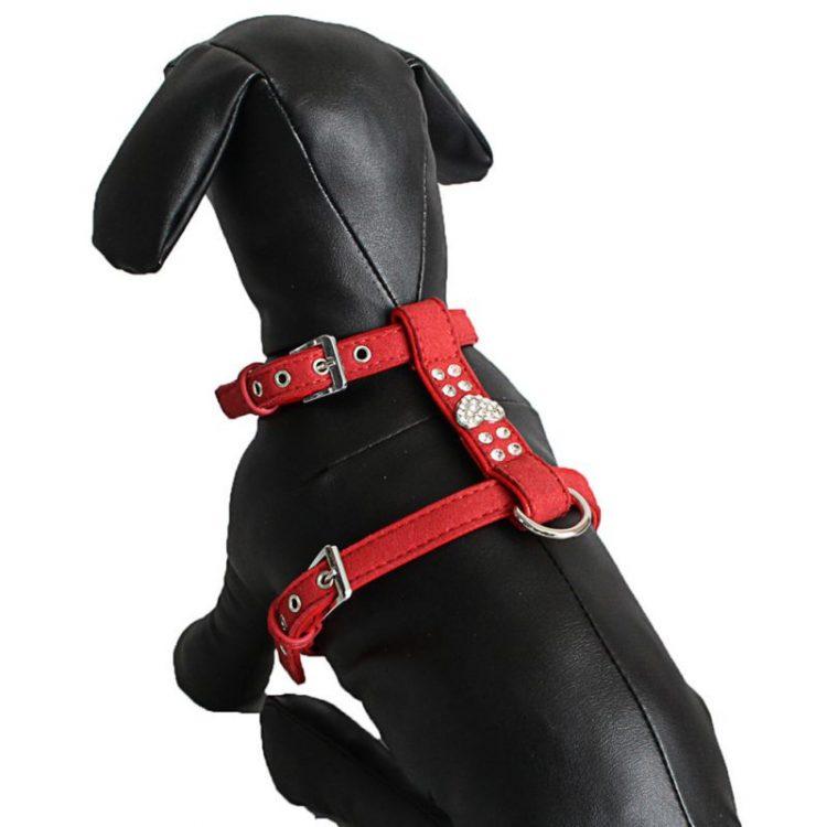 Pet Chest Strap Shining Rhinestone Heart design Vest Harnesses soft comfortableSmall Dog Puppy Cat Leather Leash Pet Supplies