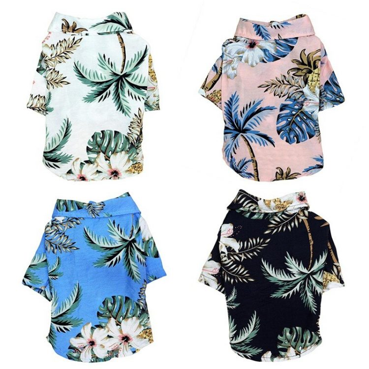 Summer Hawaii Beach Shirt Pet Clothes Cat Dog Coconut Tree Printed Coat Thin Short Sleeve Dog Clothing Puppy Overalls
