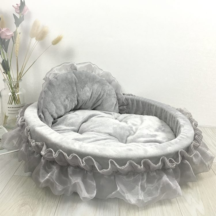 Cute dog bed gray