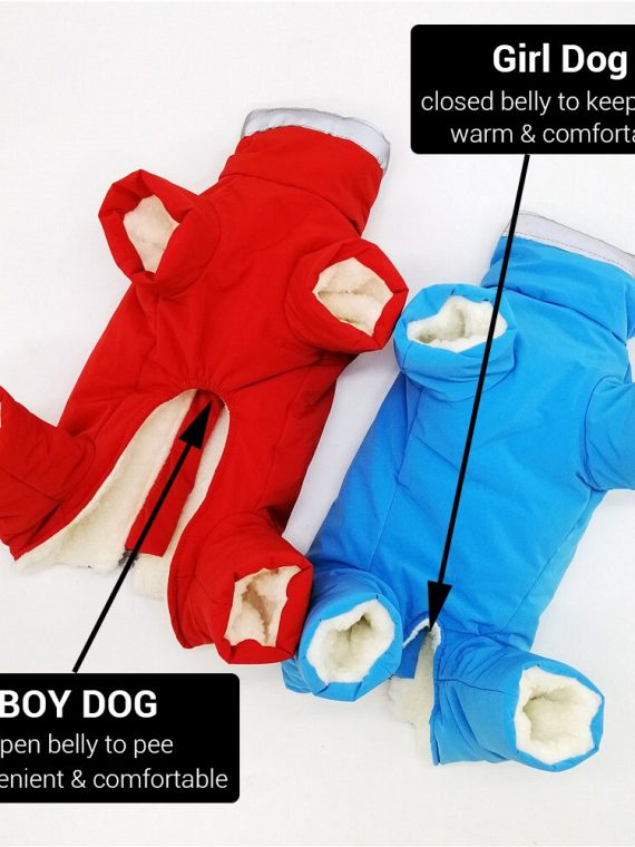 Waterproof Dog Snowsuit | Small Dog Snowsuit | Puppy Snowsuit | Dog Winter Snowsuit