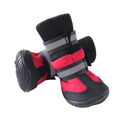 dog snow boots red