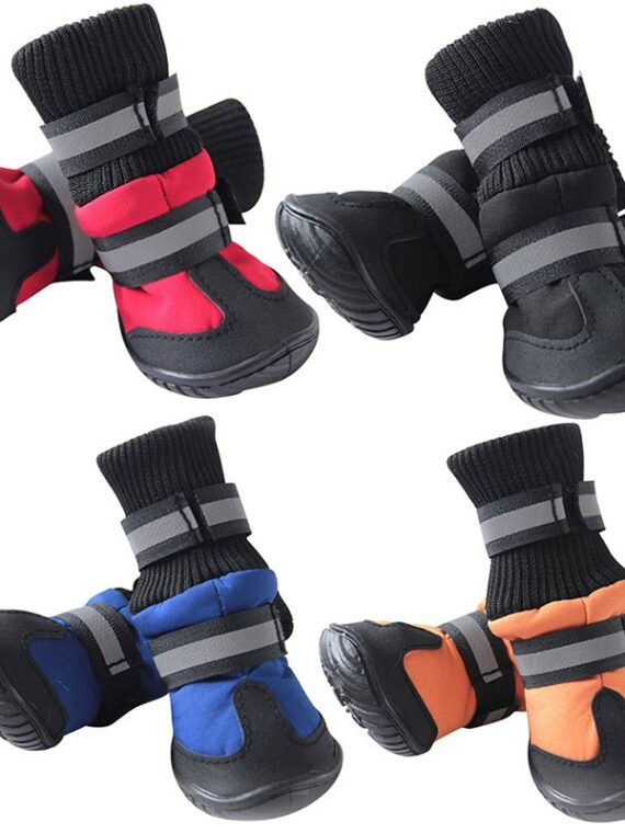 4/Pcs Dog Shoes High Waist Golden Retriever Samos Husky Waterproof Breathable Winter Dog Feet Large Dog Cotton Boots Pet Shoes