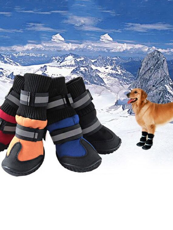 4/Pcs-Dog-Shoes-High-Waist-Golden-Retriever-Samos-Husky-Waterproof-Breathable-Winter-Dog-Feet-Large-Dog-Cotton-Boots-Pet-Shoes