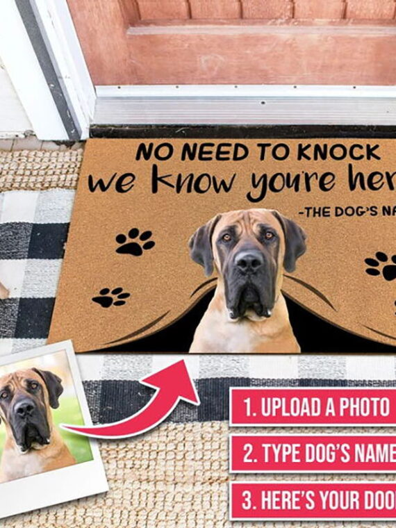 Custom-Doormat-Personalized-giftsText-Name-Pet-Dog-Cat-Photo-No-Need-to-Knock-We-Know-You're-Here,indoor/outdoor-carpet-Door-mat