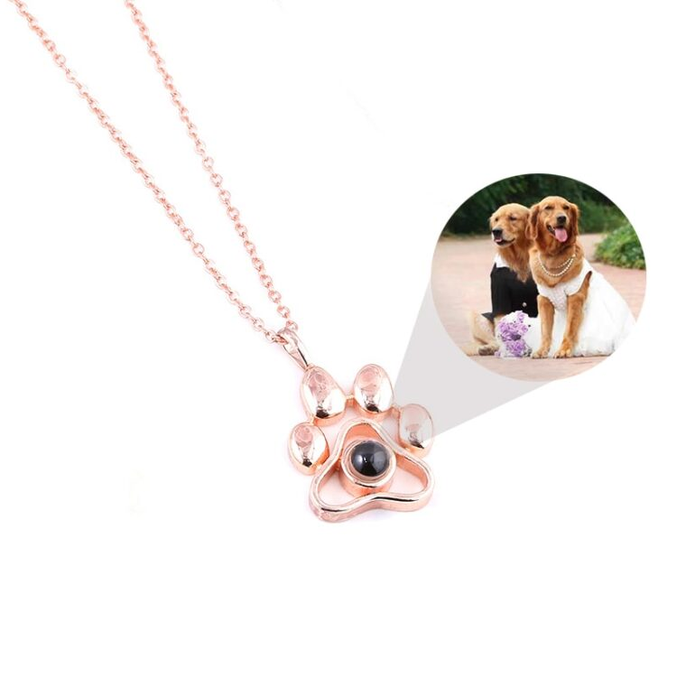 2020 Cat Dog Paw Pet Photo Projection Pendant Necklace Footprints 100 languages I Love You Choker Necklace for Women Men Jewelry