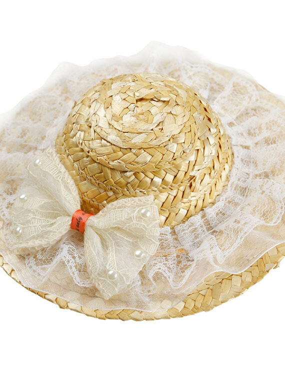 Straw Hat for Dogs with Bow