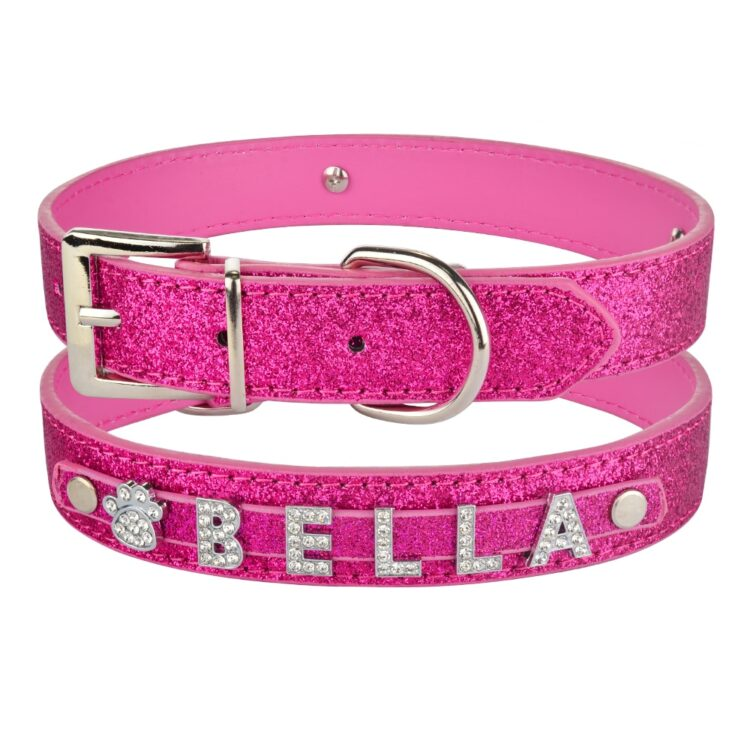personalized dog collar rose red