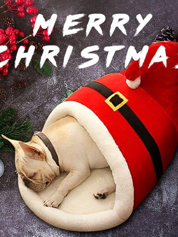 DogMEGA Christmas Warm Soft Dog Bed