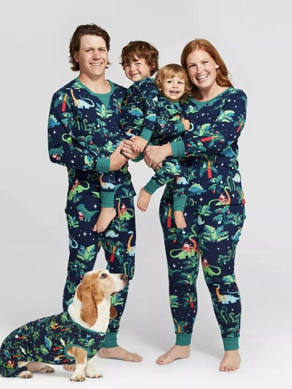 DogMEGA Dinosaur Print Pajamas for Family and Dog Family Matching Pajamas Christmas (8)_compressed